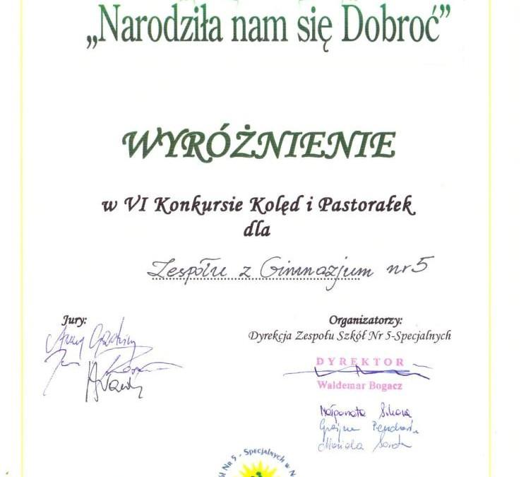 """VI Integracyjny Konkurs Kolęd i Pastorałek """"Narodziła się nam dobroć""""."""