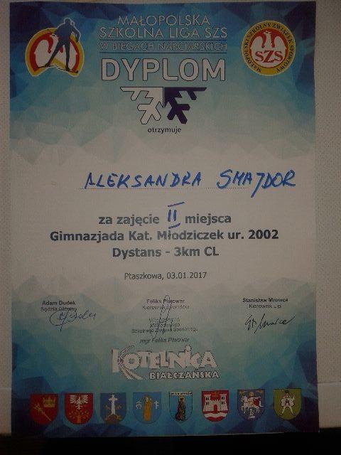 Narciarski sukces Oli Smajdor